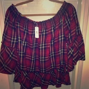 NWT Charming Charlie Red Plaid Off-Shoulder Top XL